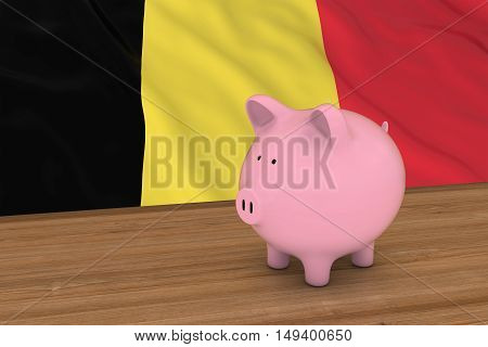 Belgium Finance Concept - Piggybank In Front Of Belgian Flag 3D Illustration