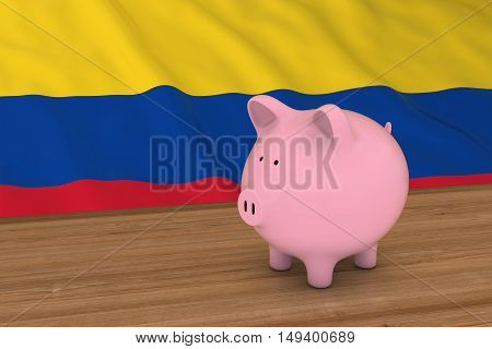 Colombia Finance Concept - Piggybank In Front Of Colombian Flag 3D Illustration
