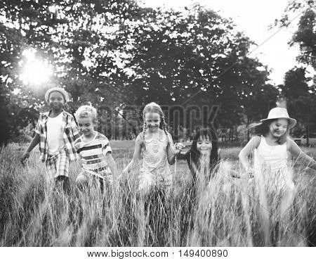 Child Friends Boys Girls Playful Nature Cheerful Concept