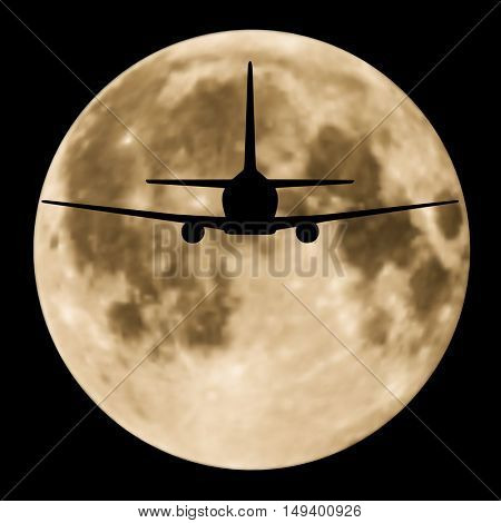 Airplane flying in the night sky with full moon. Vector EPS 8.