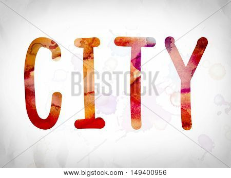 City Concept Watercolor Word Art