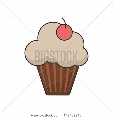 Cupcake with cherry icon. Bakery food daily and fresh theme. White background. Vector illustration