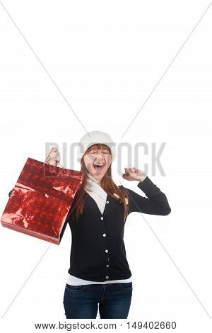 Lovely young woman with shopping bag over white