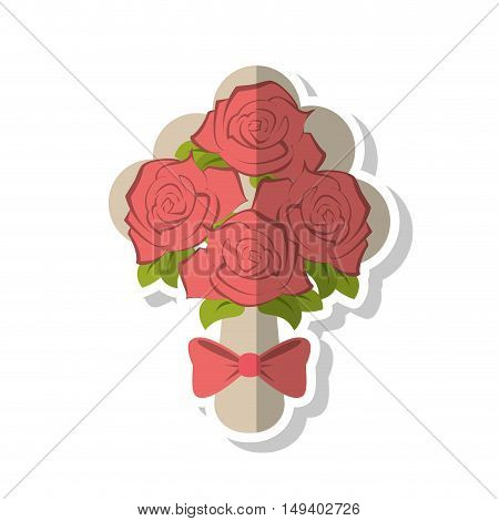 Roses with bowtie icon. Flowers garden floral and decoration  theme. Isolated design. Vector illustration