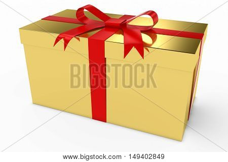 Gold Christmas Present Gift Box With Red Bow 3D Illustration