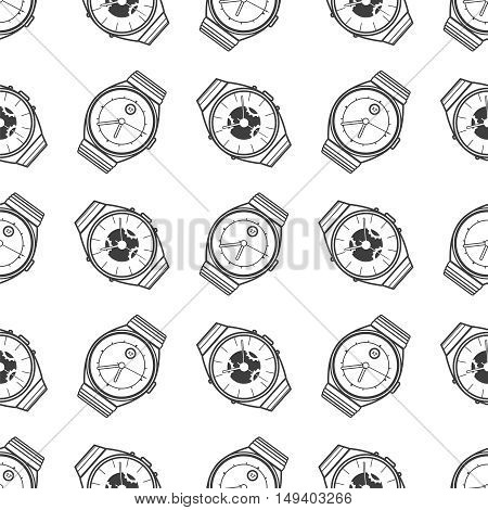 Monochromic seamless pattern with watches icons. Vector illustration