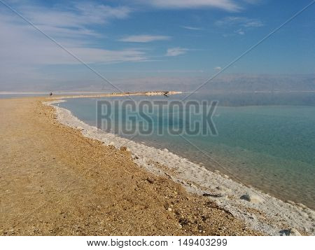 A beach full of salt in the dead sea
