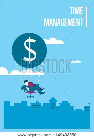 Young efficient businessman flying in sky on hot air balloon with office chair instead of basket. Time management banner, vector illustration. Time is money, abstract concept. Isolated character