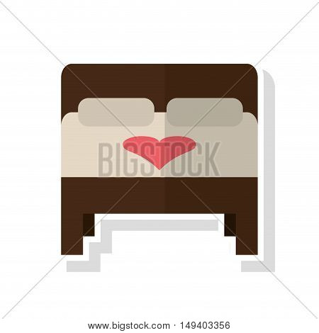 Bed with heart icon. Wedding marriage love and celebration theme. Isolated design. Vector illustration