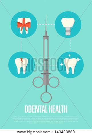 Dental health banner with medical syringe and teeth symbols. Dentistry vector illustration. Dental treatment concept. Tooth care and restoration, stomatology, orthodontics. Dentist office flyer