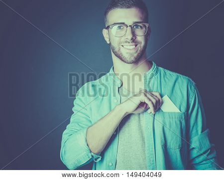 Man holding a credit card