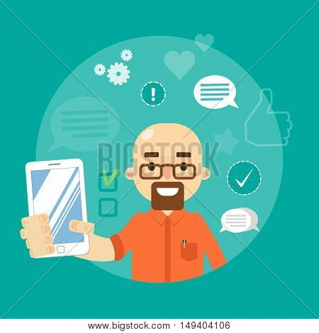 Smiling cartoon man holding smartphone on blue background with communication icons, vector illustration. Social media concept. Connecting people, social networking, virtual communication