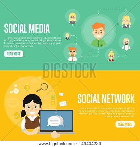 Smiling boy with own successful social network. Cartoon girl holding laptop with speech bubbles on screen. Social media network banners, vector illustration. Connecting people. Teamwork concept