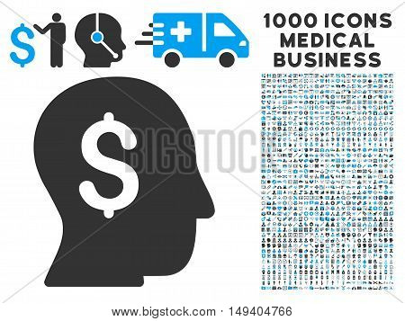 Businessman icon with 1000 medical commercial gray and blue vector pictograms. Collection style is flat bicolor symbols, white background.