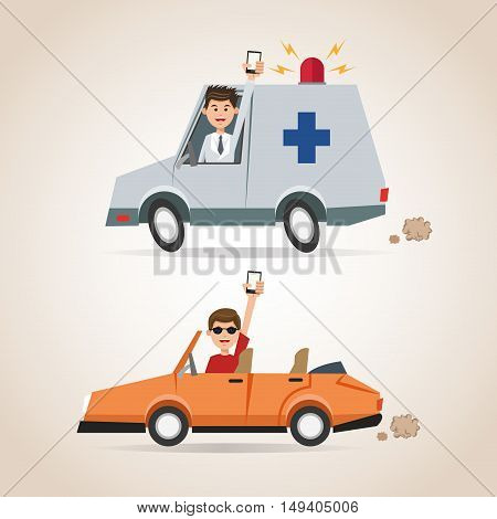 Cartoon man smartphone ambulance and car. Gps navigator location travel and route heme. Colorful design. Vector illustration