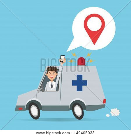 Cartoon man ambulance and smartphone. Gps navigator location travel and route heme. Colorful design. Vector illustration