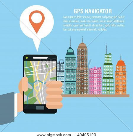 Cartoon hand city and smartphone. Gps navigator location travel and route heme. Colorful design. Vector illustration