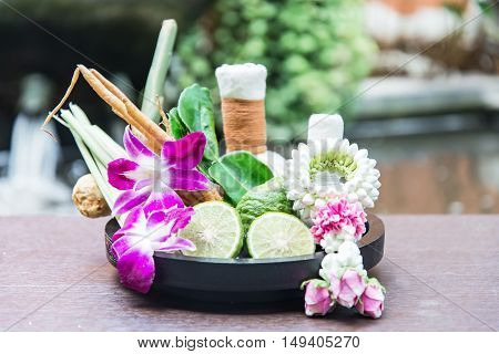 Natural Spa Ingredients herbal compress ball and herbal Ingredients for alternative medicine and relaxation Thai Spa theme with silk fabric soft and select focus