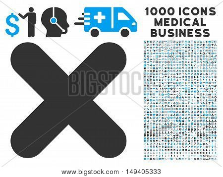 Cancel icon with 1000 medical commerce gray and blue vector pictograms. Clipart style is flat bicolor symbols, white background.