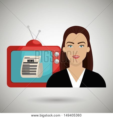 woman journalist news tv vector illustration eps 10