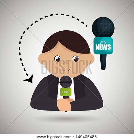 man journalist news microphone vector illustration eps 10