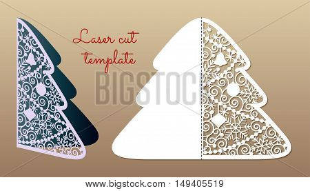 Openwork Christmas tree. Laser Cutting template suitable for greeting cards invitations menu interior decorative elements.