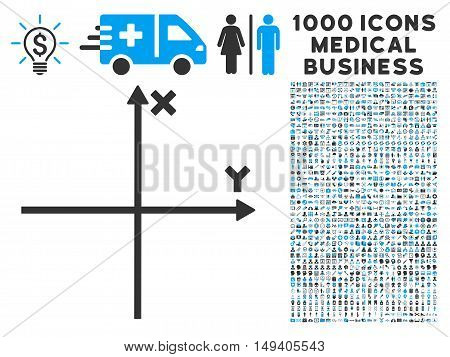 Cartesian Axes icon with 1000 medical business gray and blue vector pictograms. Set style is flat bicolor symbols, white background.