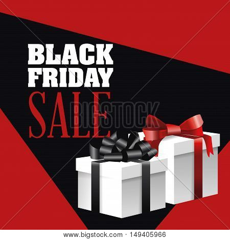 Gift with bowtie icon. Black Friday sale and offer theme. Red and black background. Vector illustration