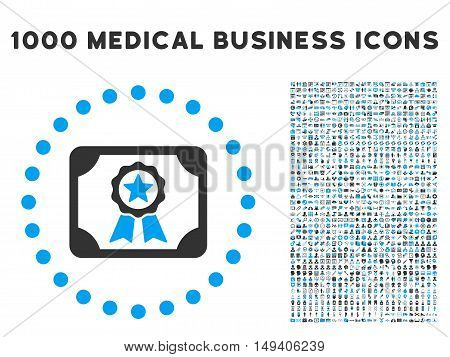 Certificate icon with 1000 medical commercial gray and blue vector pictograms. Clipart style is flat bicolor symbols, white background.