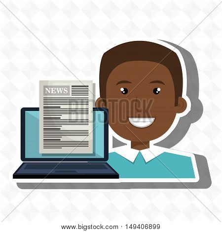 man news laptop report vector illustration eps 10
