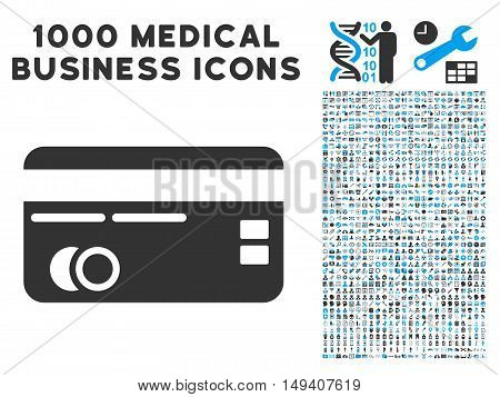 Credit Card icon with 1000 medical commercial gray and blue vector design elements. Clipart style is flat bicolor symbols, white background.