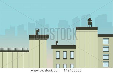 City landscape flat design modern vector illustration