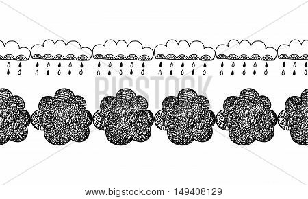 Border of decorative clouds for decoration, cards and scrapbooking. Doodles illustration, vector.