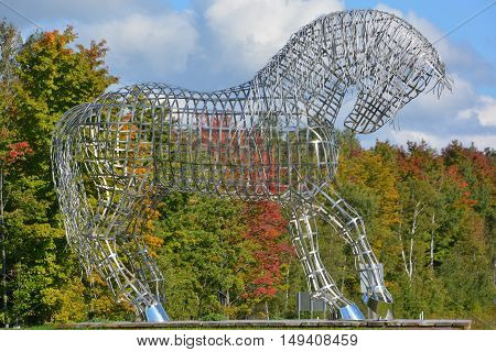 BROMONT QUEBEC CANADA 09 28 2016: By Mathieu Isabelle new statue in Bromont. The home of the Parc equestre Olympique de Bromont, equestrian olympic park.