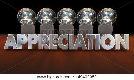 Appreciation Awards Trophies Thanking Good Peformance 3d Animation
