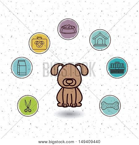 Dog and icon set. Animal pet and nature theme. White and texture background. Vector illustration