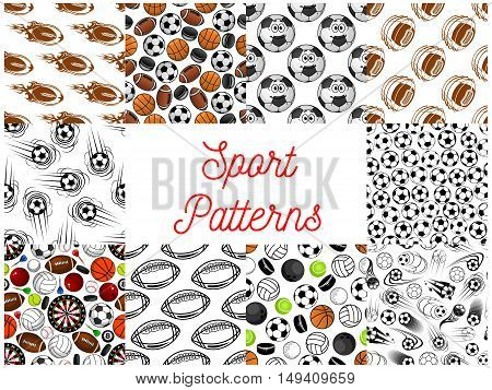 Sport objects seamless pattern. Vector pattern of ball for rugby, volleyball, soccer, football, tennis, bowling, hockey puck darts