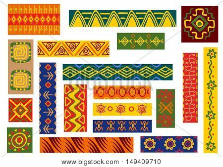 African ethnic ornaments with tribal and national patterns of stylized graphic elements of plants, flowers. Bright color geometric shapes for fabric, textile, tapestry decoration