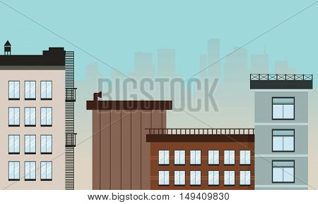 Cartoon city landscape vector flat illustration of silhouette