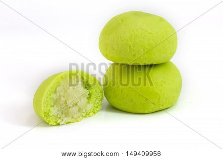 green coconut mochi isolated on white japanese desserts