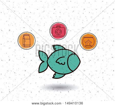 Fish and icon set. Animal pet and nature theme. White and texture background. Vector illustration