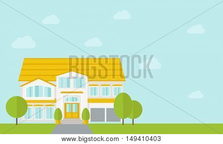 A big house in spring or summer season with trees.  flat design illustration. Horizontal layout with text space in right side.