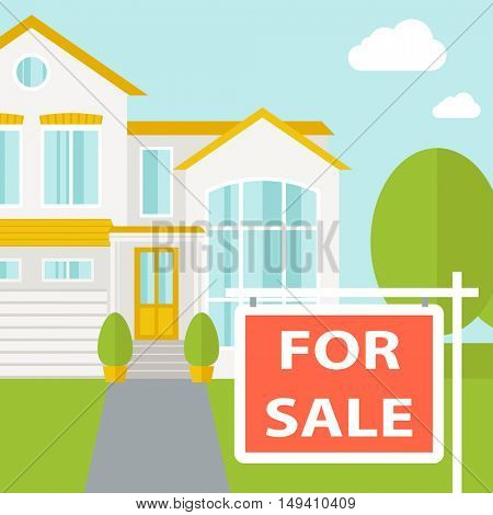 A house with for sale placard.  flat design illustration. Square layout.