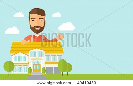 A caucasian happy for the approval of his house structure plan.  flat design illustration. Horizontal layout with text sapce in right side.