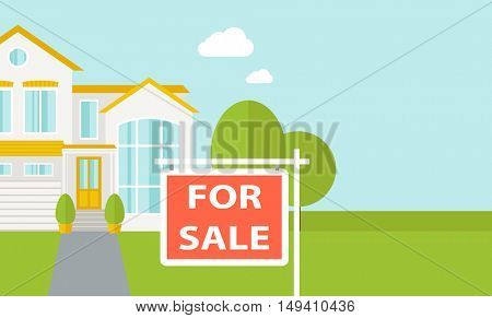 A house with for sale placard.   flat design illustration. Horizontal layout with text space in right side.
