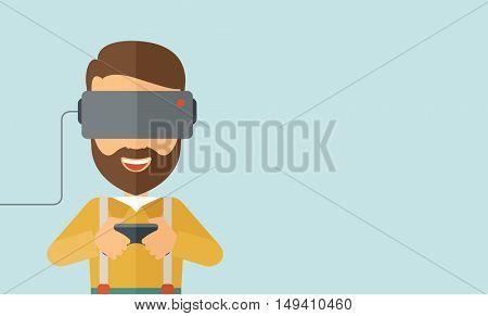 A caucasian wearing with virtual reality glass mask with remote control. A Contemporary style with pastel palette, soft blue tinted background.  flat design illustration. Horizontal layout with text