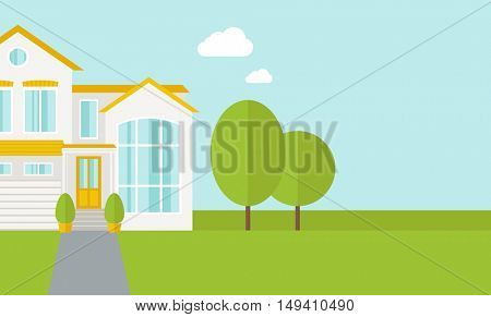 A big house in spring or summer season with trees. A Contemporary style with pastel palette, soft blue tinted background with desaturated cloud.  flat design illustration. Horizontal layout with text