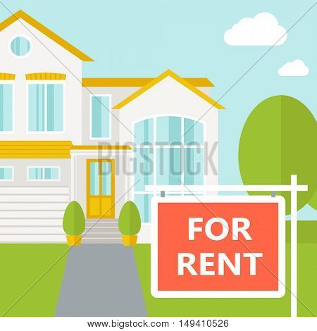A house with for rent placard.  flat design illustration. Square layout.