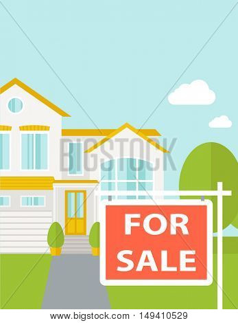 A house with for sale placard.  flat design illustration. Vertical layout with text space on top part.