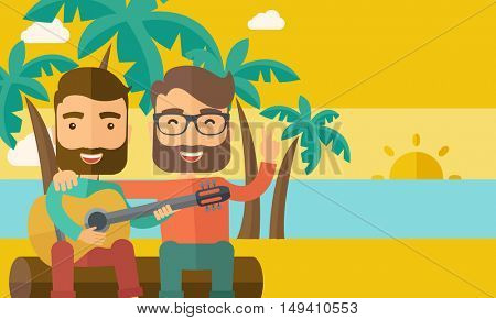 Two caucasian happy playing a guitar at the beach under a palm tree.   flat design illustration. Horizontal layout.